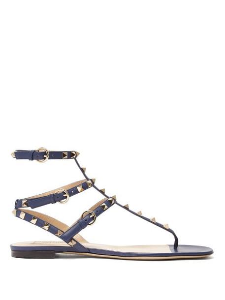 Valentino - Rockstud Flat Leather Sandals - Womens - Navy