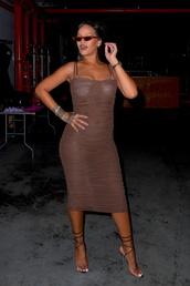 dress,rihanna,bodycon dress,celebrity,fashion week,sandals,midi dress