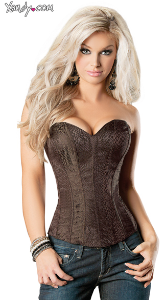 Textured Corset In Snake Skin Print, Waist Training Corsets, Lace Up Corsets For Women