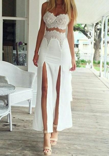 white dress jumpsuit 2 piece skirt set lace