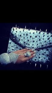 bag,clutch,spikes,silver,glitter,rhinestones