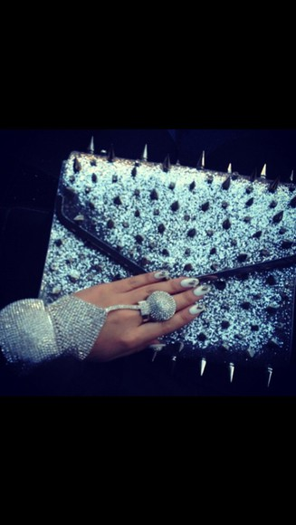 spikes bag clutch silver glitter rhinestones