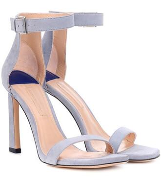100 sandals suede blue shoes