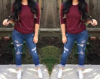 shirt hat jeans maroon shirt beanie tan burgundy nude cotton