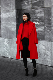 holy nights,blogger,sweater,shoes,winter outfits,red coat,red sweater,ankle boots