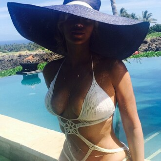 swimwear beyonce summer crochet one piece swimsuit cream instagram hat dope swimwear sun hat