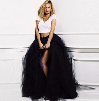 skirt black fashion girly cute maxi tulle skirt style tutu musheng