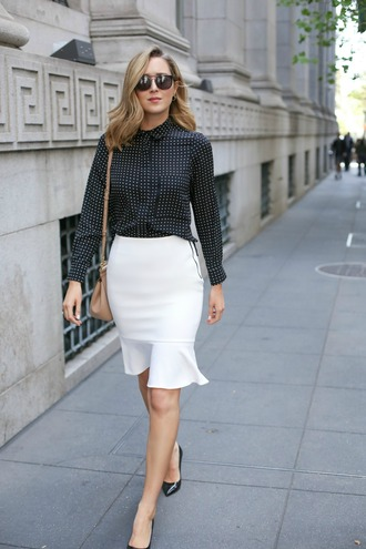 the classy cubicle blogger blouse bag jewels sunglasses white skirt polka dots black stilettos button up