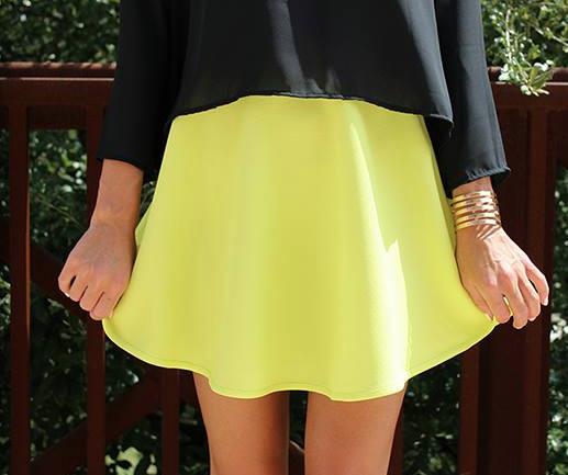 Neon lime flare skirt