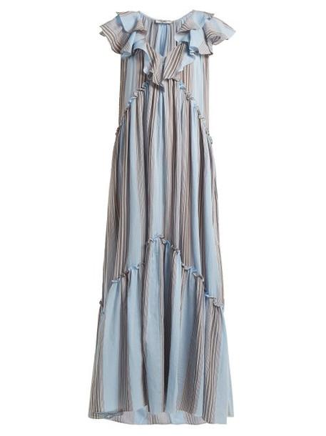 Three Graces London - Wilhemina Striped Cotton Maxi Dress - Womens - Blue Stripe