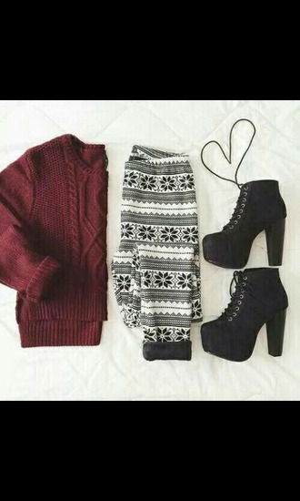 leggings sweater red sweater