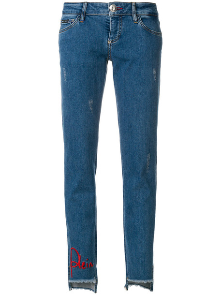 PHILIPP PLEIN jeans women spandex embellished cotton blue