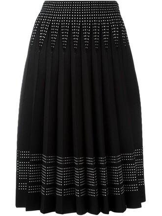 skirt pleated women spandex black wool