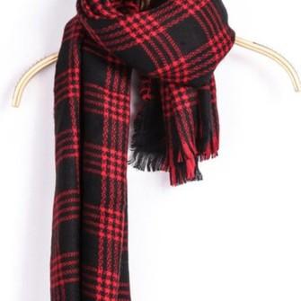 and black plaid scarf flannel scarf long scarf warm scarf fringed scarf www.ustrendy.com scarf red