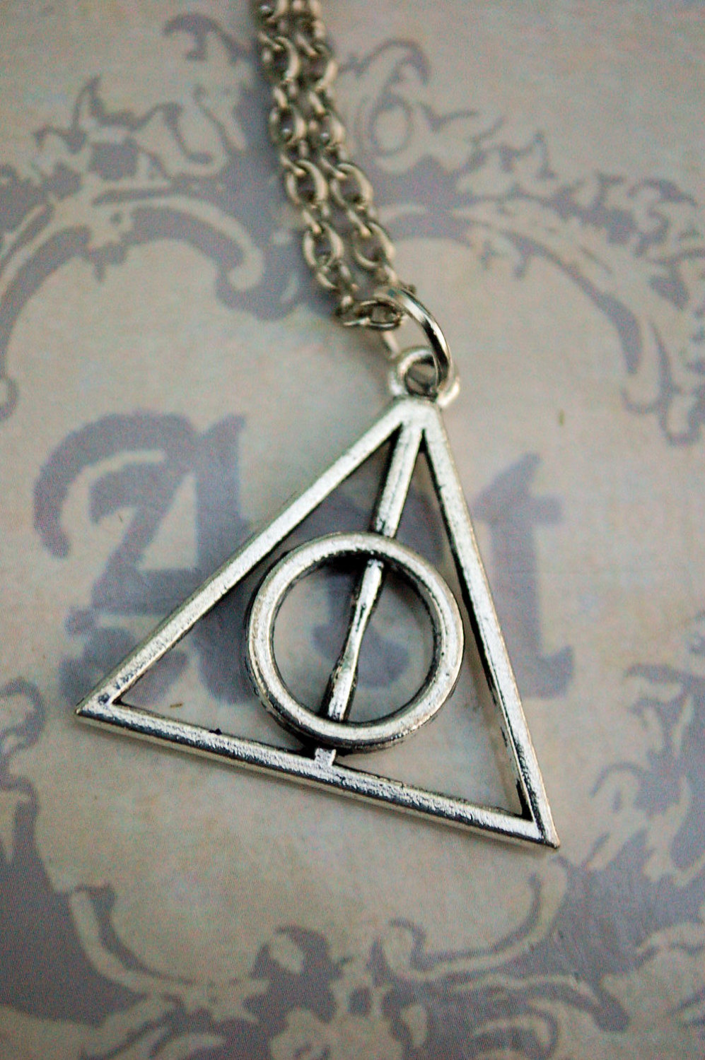 Silver tone harry potter deathly hallows necklace