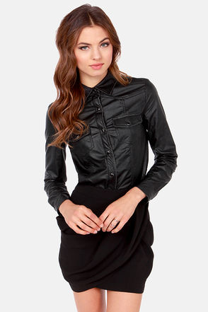 Cool Black Top - Button Up Top - Vegan Leather Top - $49.00