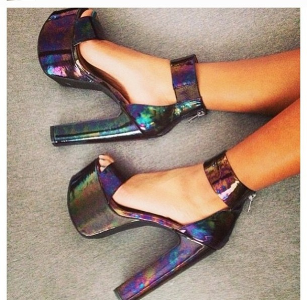 e93a83391f8 shoes wedges heels metallic platform high heels high heels rainbow shiny holographic  shoes strappy heels platform