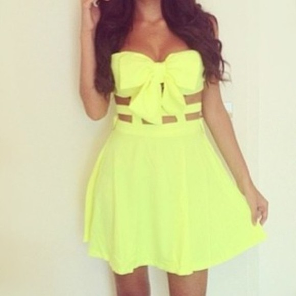 dress yellow dress bow cut out dress yellow cute dress