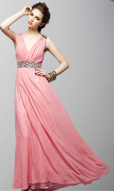 long prom dress pink dress v neck dress pink prom dress long formal dress vintage dress sequin dress