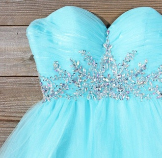 dress blue mint dress rhinestones blue dress mint homecoming dress prom dress