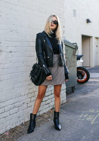 hustle and halcyon blogger skirt jacket shoes bag fall outfits ankle boots grey skirt mini skirt leather jacket