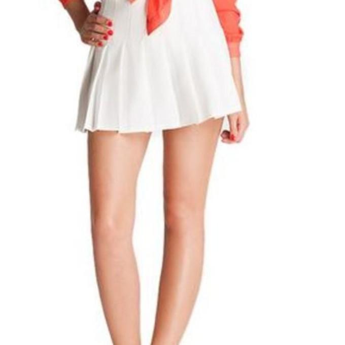 white skirt white pleated skirt pleated mini skirt white