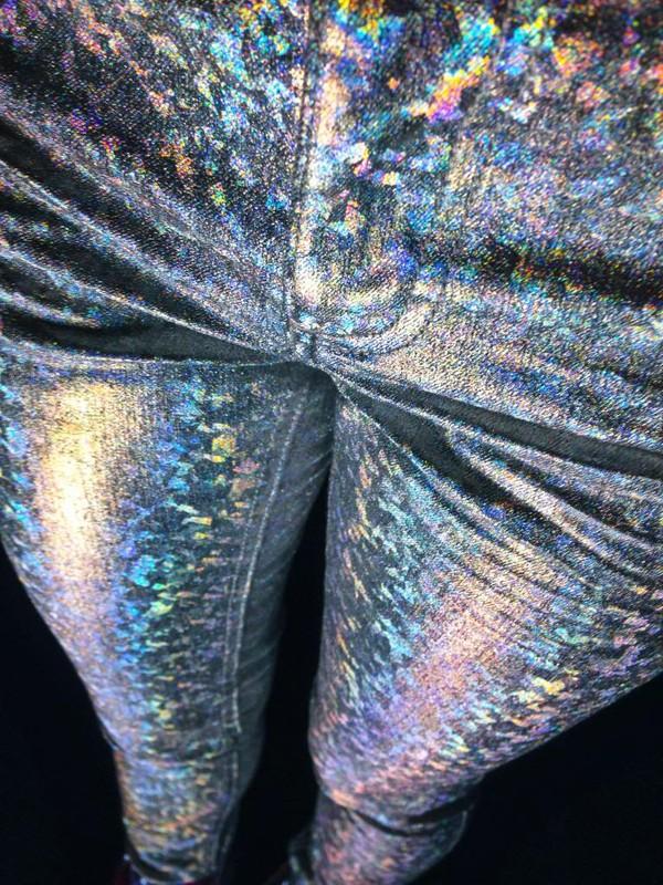 jeans iridescent holographic rainbow