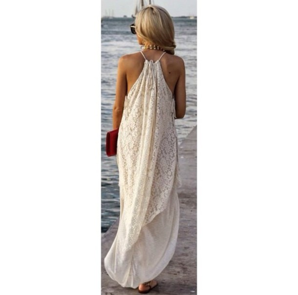 dress cream halterneck tie cover up kaftan maxi