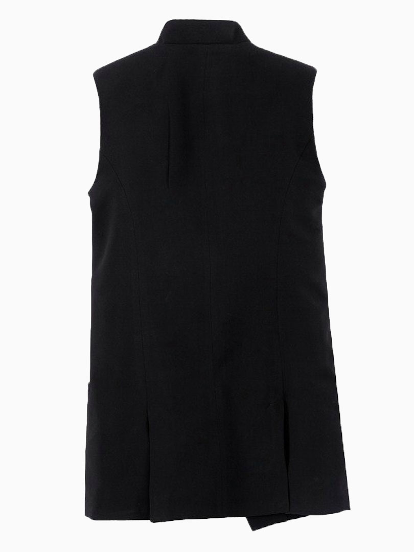 Black Sleeveless Coat - Choies.com