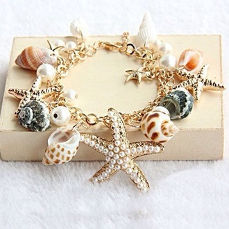 bracelets jewels star bracelets sea star charms charm bracelet sea shells summertime accessories