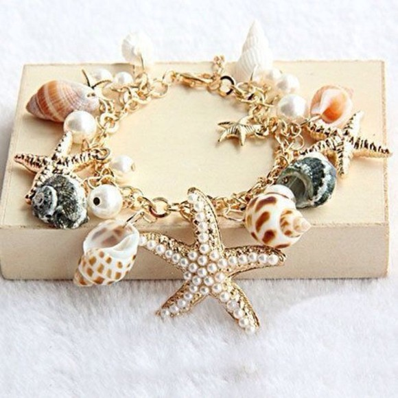 jewels charm bracelet charms sea shells summertime accessories bracelets star bracelets sea star