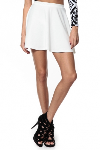 True White Flowy Skater Skirt @ Cicihot Pants Online Store: sexy pants,sexy club wear,women's leather pants, hot pants,tight pants,sweat pants,black pants,baggy pants