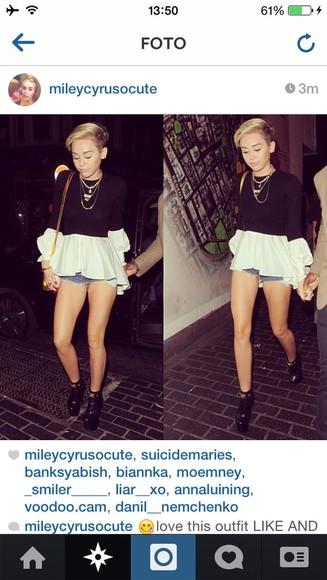 t-shirt black white miley cyrus blouse