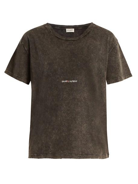 Saint Laurent t-shirt shirt cotton t-shirt t-shirt cotton print grey top