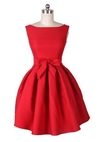 50s style vintage fashion vintage retro red dress party party dress audrey hepburn bridesmaid