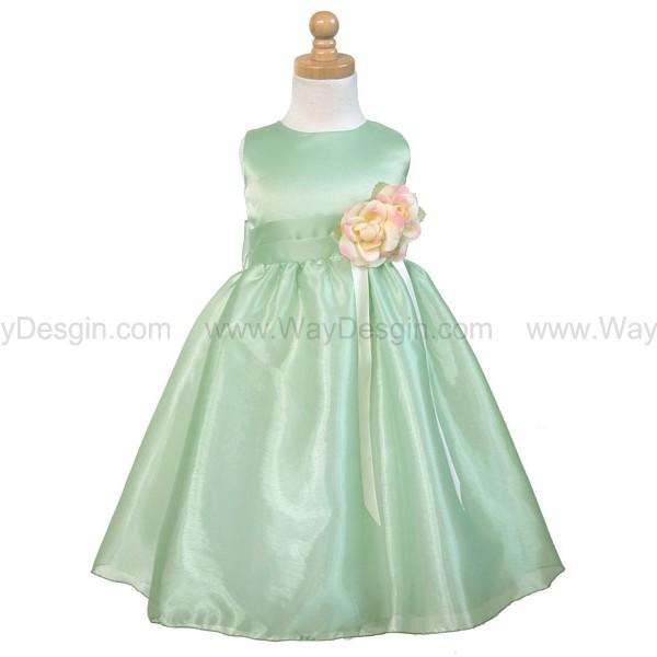 sage satin party dress flower girl dresses