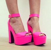 shoes,neon pink,heels,sandals,block heels,whitenotpink