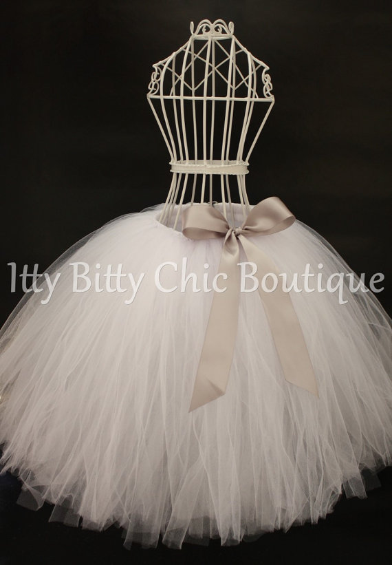 784fdfd11 White Full-Length Romantic Long Tutu Skirt Gray Bow Weddings ...