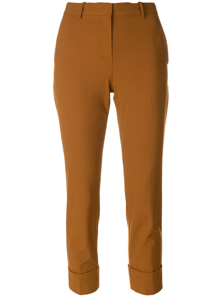 theory cropped women spandex cotton wool brown pants