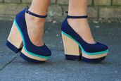 shoes,platform shoes,choes,blue,green,beige,cute,ankle strap
