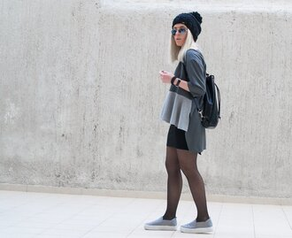 style lime light blogger pom pom beanie grey sweater asymmetrical vans