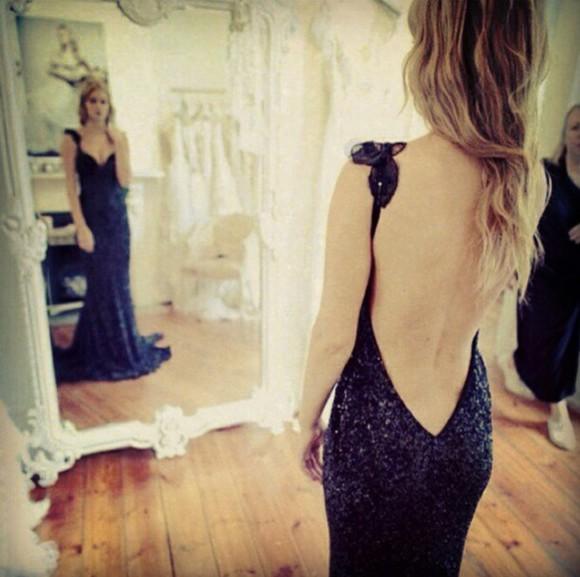 lace dress evening dress black prom dress backless dress sequin dress