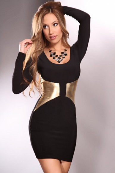 long sleeves tight metallic detail bodycon dress