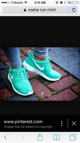 shoes mint roshe runs nike running shoes nike shoes nike sneakers mint roshes nike dress sequin dress blue and  white