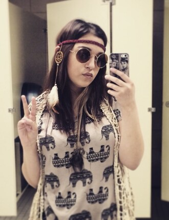 blouse ross hippie 70s style peace henna red head band braid straight hair jon lennon glasses lace elephant dreamcatcher