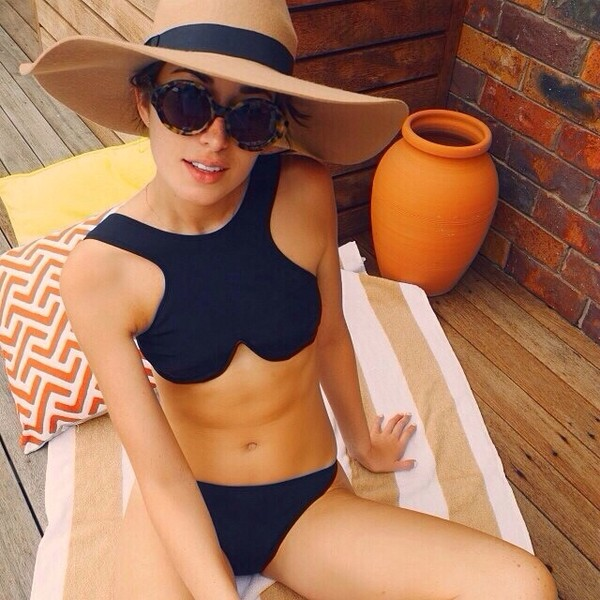 swimwear black bikini swimwear hat sunglasses black bikini cool bakini
