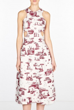 Safari printed sleeveless side cut out dress by carven