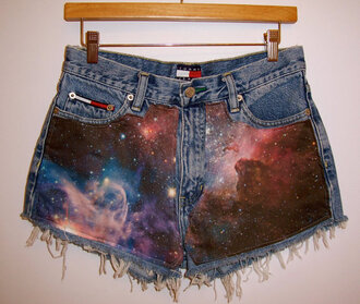 shorts high waisted denim shorts cut offs galaxy print stars cosmic space milky way nebula galaxy shorts clothes vintage shorts etsy festival summer