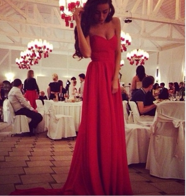 dress long red red dress