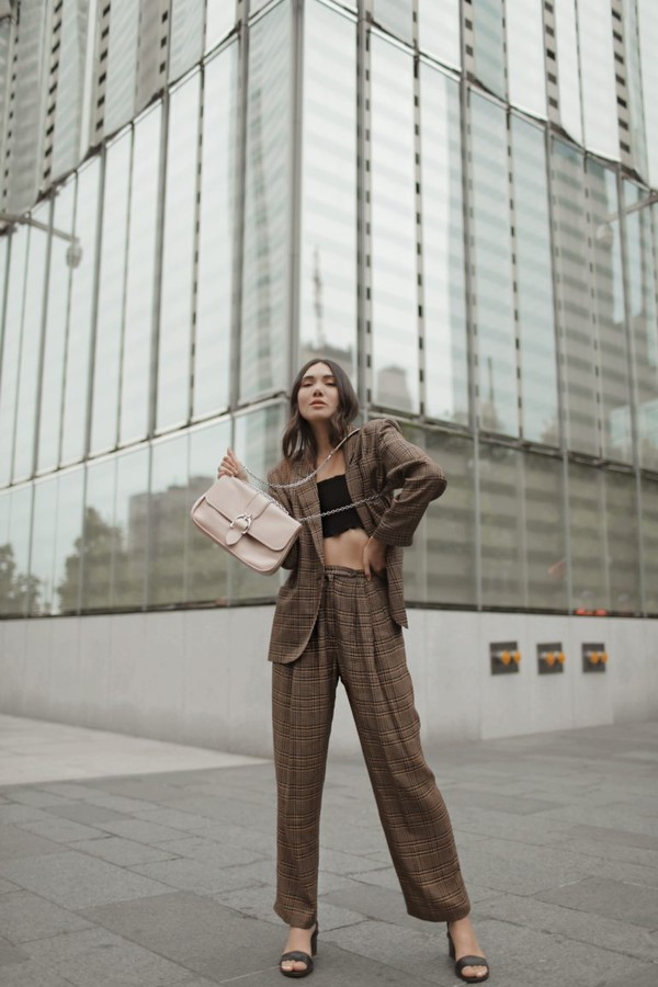 top topc crop tops blazer pants suit shoes bag